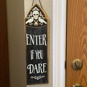Halloween sign with metal chain